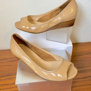 Cole Haan Nude Open Toe Wedges Size 8